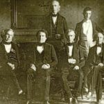 President Polk (third from right) with cabinet members John Y. Mason, William L. Marcy, Cave Johnson, George Bancroft, and Robert J. Walker, photograph attributed to John Plumbe, Jr., 1846 (James K. Polk Memorial Association)