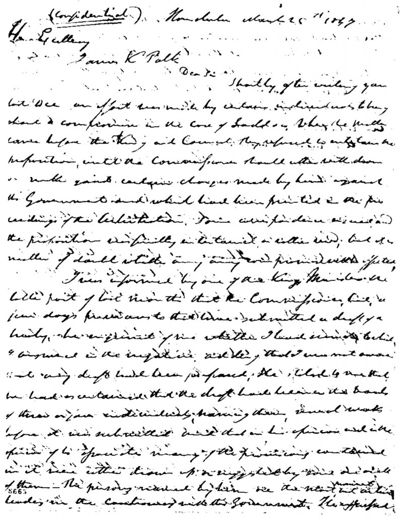 Joel Turrill to Polk, March 25, 1847 (Polk Papers, Library of Congress)